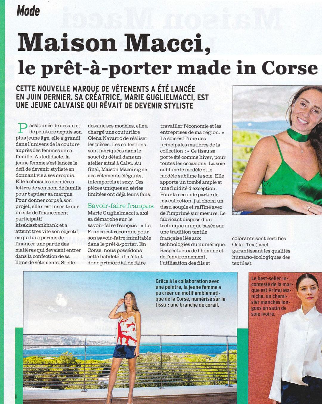 presse maison macci prêt-à-porter made in Corse